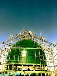 ساخت گنبد فلزی سبز
